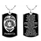 Military Dog Tag Metal Chain Necklace - Police Badge Protection Prayer Double