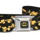 DC Comics Batman Seatbelt Belt - Bat Signals Stacked Yellow/Black