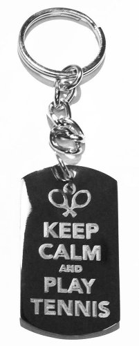 Keep Calm & Play Tennis w/ Racquet - Metal Ring Key Chain Keychain