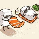 """Summer Sushi"" Vacation Sunbathing on Beach - Rectangle Refrigerator Magnet"