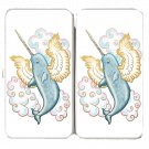 Flying Whale Narwhal w/ Wings in Clouds - Womens Taiga Hinge Wallet Clutch