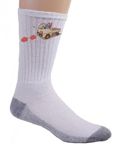 """Just Like Video Game"" Funny Plumber Brothers & Turtles Parody - Crew Socks Pair"
