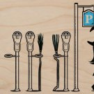 """""""Parking"""" Witch Broomstick Park Meters Fun - Plywood Wood Print Poster Wall Art"""