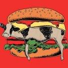 """Still Yum Yum"" Funny Cow in Hamburger - Plywood Wood Print Poster Wall Art"