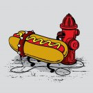 """""""Hotdawg"""" Hot Dog Chained to Fire Hydrant Funny - Rectangle Refrigerator Magnet"""