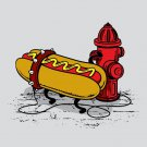 """Hotdawg"" Funny Hot Dog Food Chained to Fire Hydrant Humor - Vinyl Sticker"