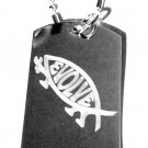 Military Dog Tag Metal Chain Necklace - Evolve Darwin Evolution Fish Novelty