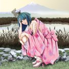 Anime Girl Crouched w/ Boots & Mountain - Vinyl Print Poster