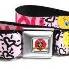 Looney Toons Seatbelt Belt - Tweety Bird I LOVE YOU Pink/Black/Purple
