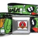 Looney Toons Seatbelt Belt - MARVIN THE MARTIAN w/ Poses White/Green
