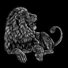 """Majestic Lion"" Big Cat Jungle King Black & White Artwork - Vinyl Print Poster"