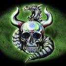 Metallic Dragon w/ Skull & Horns - Vinyl Print Poster