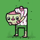 """""""Self Sufficient"""" Zombie Eating His Own Brain Funny Cartoon - Vinyl Print Poster"""