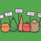 """Protesting Vegans"" Vegetables w/ Signs Protesting Against - Vinyl Print Poster"