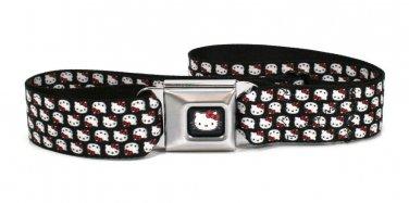 Hello Kitty Seatbelt Belt - Mini Hello Kitty Flip Faces Black