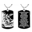 Military Dog Tag Metal Chain Necklace - Arch Angel Michael Prayer Double Sided