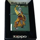 Zippo Custom Lighter - Viking Warrior w/ Axe & Shield Chameleon Green