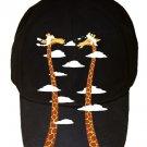 """Cloudy Day"" Funny Giraffe Heads Clouds & Long Necks - Black Adjustable Cap Hat"