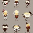 """Coffee Personality"" Cartoon Brew Drink Types - Rectangle Refrigerator Magnet"