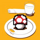 """Nutritious Breakfast"" Video Game Parody w/ Mushroom on Plate - Vinyl Sticker"