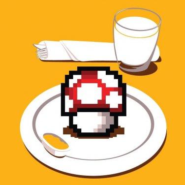 """Nutritious Breakfast"" Video Game Parody w/ Mushroom on Plate - Vinyl Sticker"