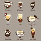 """Coffee Personality"" Cartoon Coffee Brew Drink Type Expressions - Vinyl Sticker"