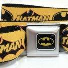DC Comics Batman Seatbelt Belt - Vintage Batman Logo & Bat Signal Yellow