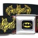 DC Comics Batman Seatbelt Belt - Zebra Bat Signal Black/Gray/Yellow/Black