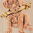Cute French Mastif Pet Puppy Dog w/ Bone - Plywood Wood Print Poster Wall Art