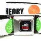 The Big Bang Theory Seatbelt Belt - BBT Logo Science Symbols Orange/Blue