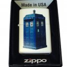 Zippo Custom Lighter - British Blue Tardis Police Box White Matte