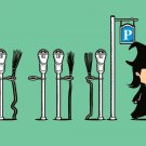 """Parking"" Funny Witch Broomstick Street Park w/ Meter Humor - Vinyl Print Poster"