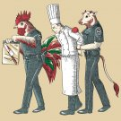 """Murder Chef"" Funny Vegetarian Justice Cow & Chicken Humor - Vinyl Print Poster"