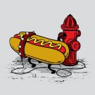 """Hotdawg"" Funny Hot Dog Food Chained to Fire Hydrant Humor - Vinyl Print Poster"