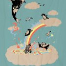 """""""Colorful Playground"""" Animals & Rainbow - Plywood Wood Print Poster Wall Art"""