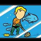 """Part-time JOB Aquarium"" Parody Super Hero Cleaning Fish Tank - Vinyl Sticker"