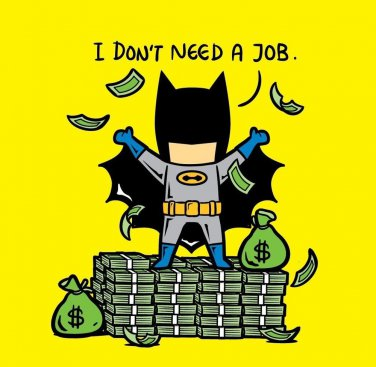 """Part-time JOB No Job"" Parody Bat Super Hero Rich Cash Stacks - Vinyl Sticker"
