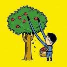 """Part-time JOB Apple Farm"" Parody Super Hero Picking Apples - Vinyl Sticker"