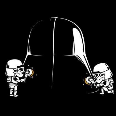 """Polishing"" Space Movie Parody Cleaning Villain Helmet - Vinyl Print Poster"