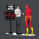 """Speed Trap"" Funny Parody Super Hero Getting Ticket - Vinyl Print Poster"