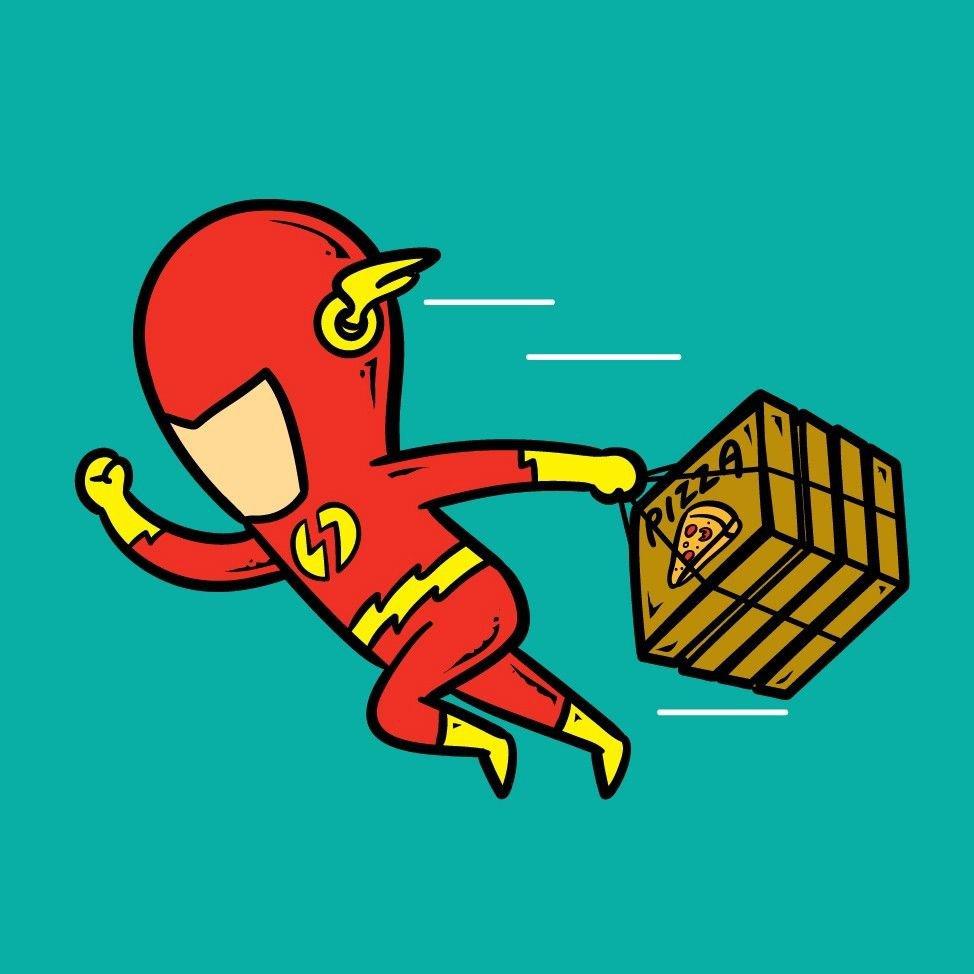 part time job pizza shop parody super hero delivery boy vinyl print poster. Black Bedroom Furniture Sets. Home Design Ideas