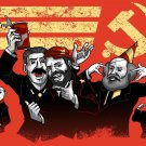 Communist Party Funny Pun Famous Leaders Partying - Vinyl Print Poster