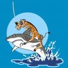 """Pirate Giraffe"" Riding Shark Jumping From Water Funny - Vinyl Print Poster"