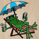 Chillin Froggy Funny Frog Sits w/ Phone - Plywood Wood Print Poster Wall Art