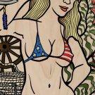 Hey Sailor Sexy USA Patriotic Bikini Girl - Plywood Wood Print Poster Wall Art
