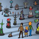 My Robot Family Funny British TV Show Parody - Rectangle Refrigerator Magnet
