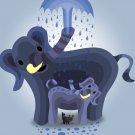 Elephant Showers Cute Mom & Baby Trunk Spraying - Rectangle Refrigerator Magnet