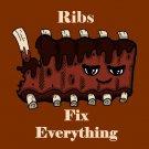 Ribs Fix Everything Food Humor Cartoon - Vinyl Print Poster