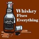 Whiskey Fixes Everything Drinking Humor Cartoon - Vinyl Print Poster