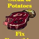 Steak & Potatoes Fix Everything Food Humor Cartoon - Vinyl Print Poster